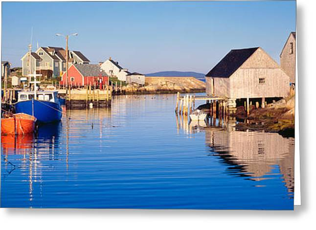 Fishing Boats Greeting Cards - Fishing Village Of Peggys Cove, Nova Greeting Card by Panoramic Images