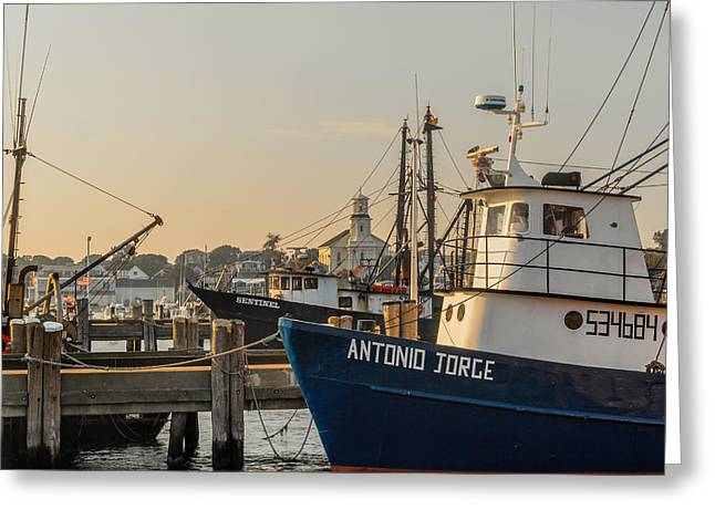 New England Village Greeting Cards - Fishing Village Square Greeting Card by Bill  Wakeley