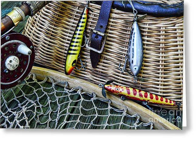 Trout Fishing Greeting Cards - Fishing - Vintage Fishing Lures  Greeting Card by Paul Ward