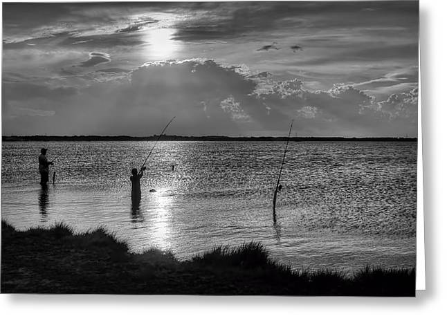 Merrit Greeting Cards - Fishing with Dad - Black and White - Merritt Island Greeting Card by Nikolyn McDonald