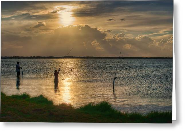 Crepuscular Rays Greeting Cards - Fishing with Dad Greeting Card by Nikolyn McDonald