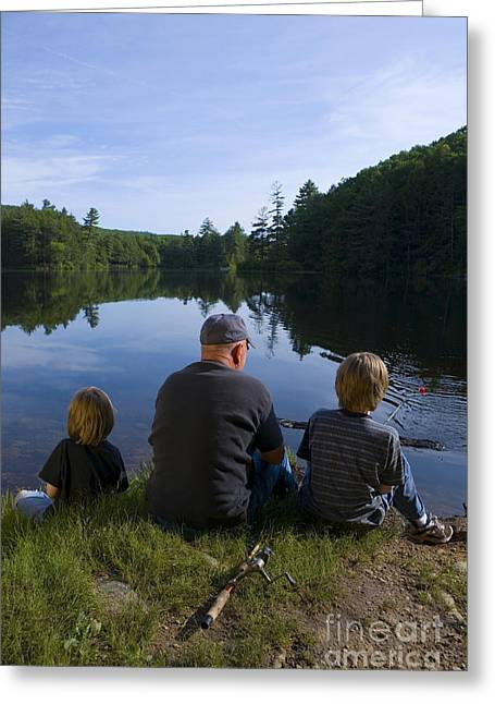 Grandparent Greeting Cards - Fishing with Grandad Greeting Card by Diane Diederich