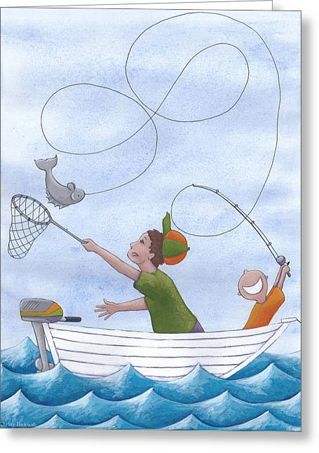 Kids Room Drawings Greeting Cards - Fishing With Grandpa Greeting Card by Christy Beckwith