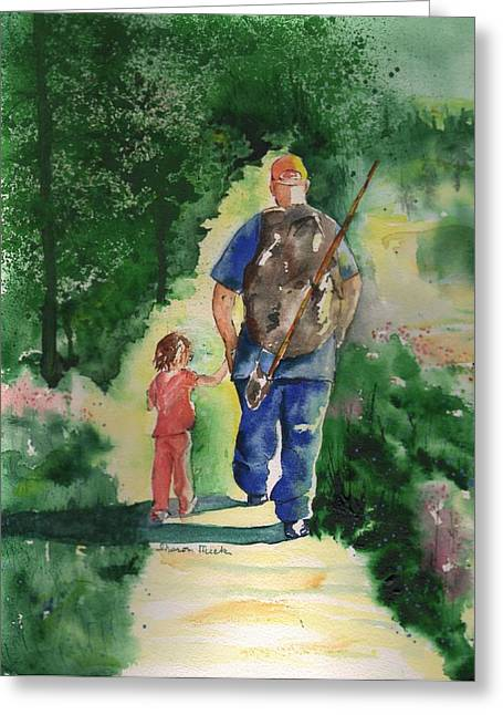 Water Color Greeting Cards - Fishing with My Dad Greeting Card by Sharon Mick