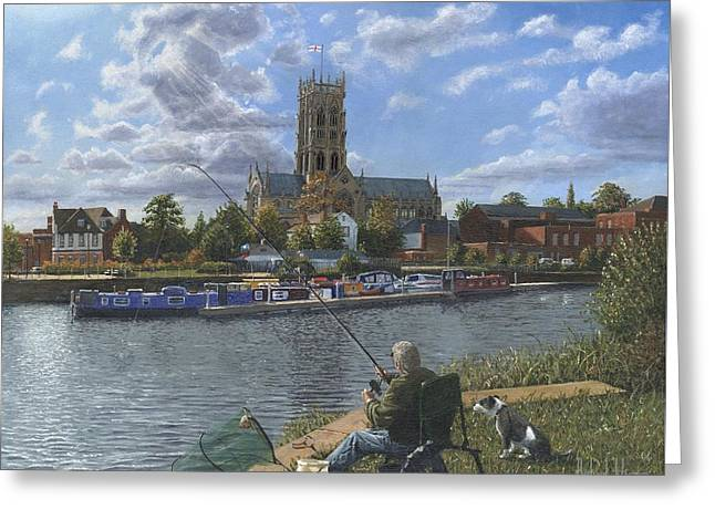 Saint George Greeting Cards - Fishing with Oscar - Doncaster Minster Greeting Card by Richard Harpum
