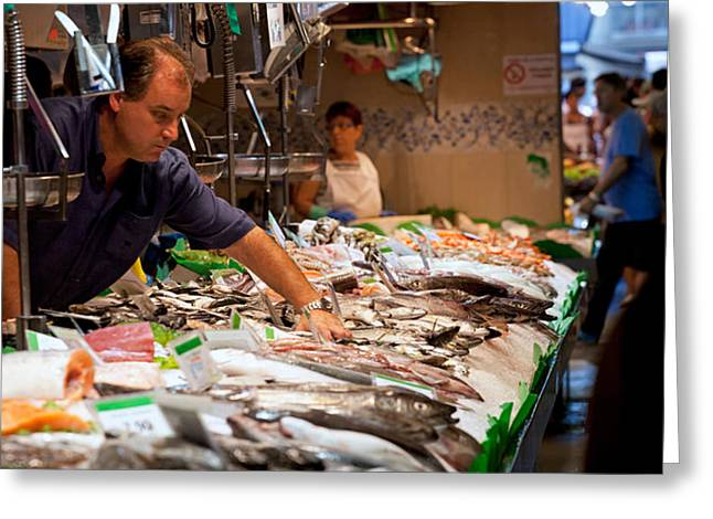 Fish Market Greeting Cards - Fishmonger At A Fish Stall, La Boqueria Greeting Card by Panoramic Images
