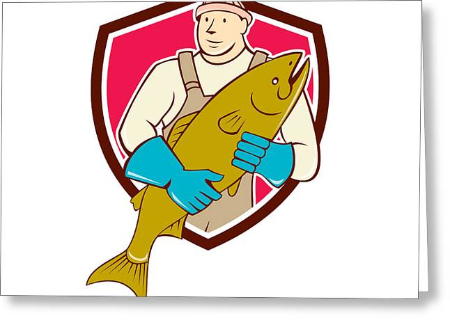 Fishmongers Greeting Cards - Fishmonger Holding Salmon Fish Shield Cartoon Greeting Card by Aloysius Patrimonio