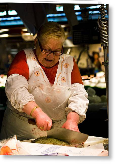 Fishmongers Greeting Cards - Fishmonger in La Boqueria Market Greeting Card by Ruben Vicente