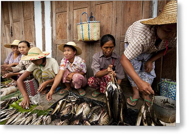 Fishmongers Greeting Cards - Fishmonger in Nyaung Shwe Market Greeting Card by Ruben Vicente