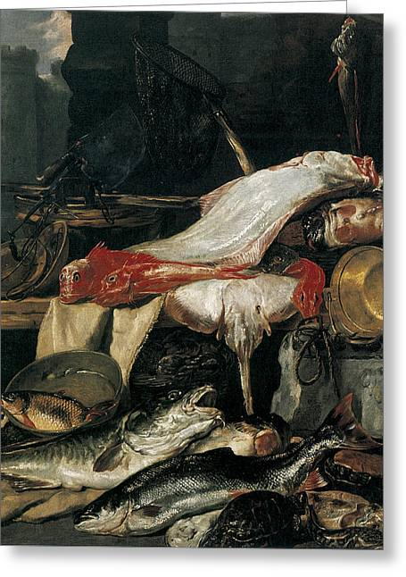 Fishmongers Greeting Cards - Fishmongers Stall Greeting Card by Pieter Boel