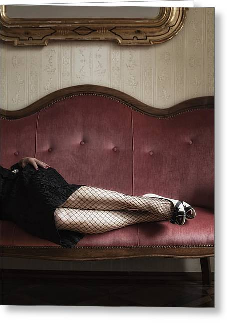 Anonymous Greeting Cards - Fishnet Tights Greeting Card by Joana Kruse