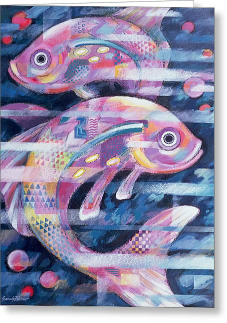 Good Luck Greeting Cards - Fishstream Greeting Card by Sarah Porter