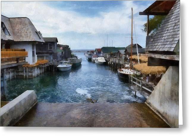 Sailboats Docked Digital Art Greeting Cards - Fishtown Leland Michigan Greeting Card by Michelle Calkins