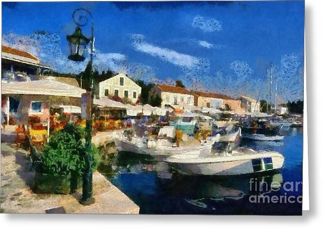 Fiskardo Town In Kefallonia Island Greeting Card by George Atsametakis