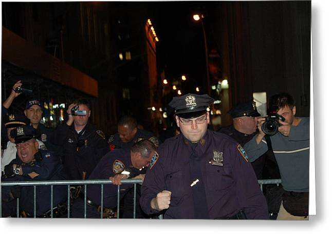 Occupy Greeting Cards - Fist Pump Cop Greeting Card by Jacob Cohen