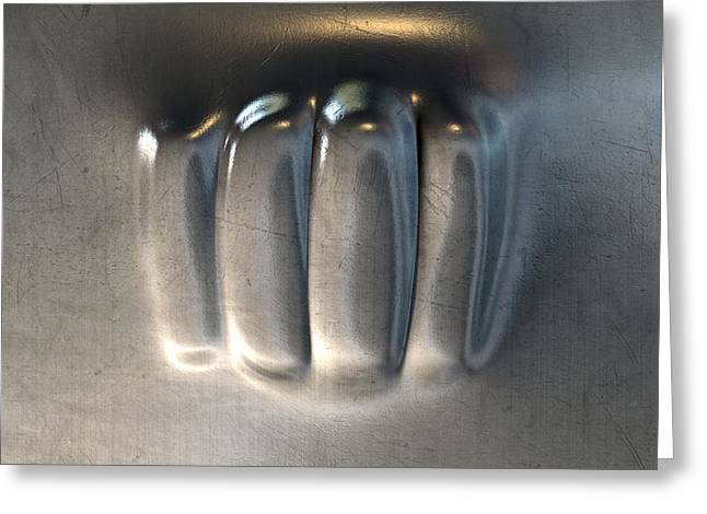 Fist Greeting Cards - Fist Punched Metal Greeting Card by Allan Swart