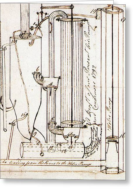 Condenser Greeting Cards - Fitch Air Pump And Condenser, 1792 Greeting Card by Science Source