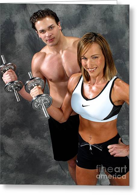 Nike Greeting Cards - Fitness Couple 17-2 Greeting Card by Gary Gingrich Galleries