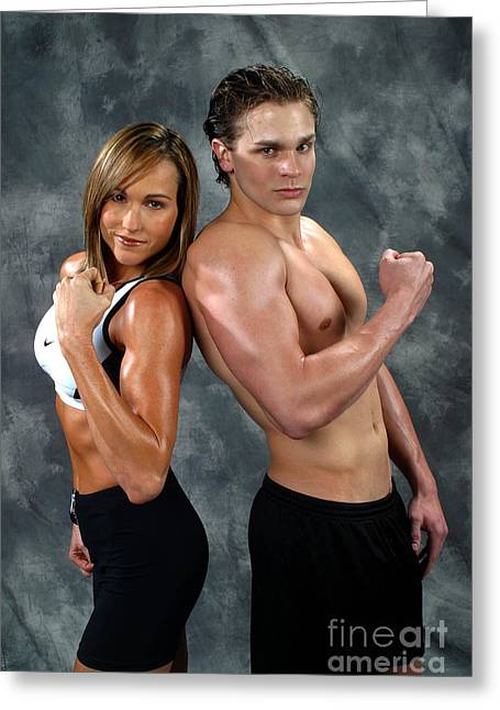 Nike Greeting Cards - Fitness Couple 39 Greeting Card by Gary Gingrich Galleries