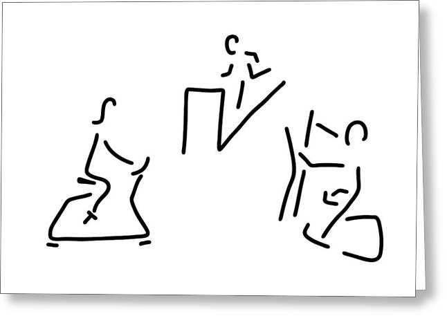 Jogging Drawings Greeting Cards - Fitness Hometrainer Crosstrainer Sport Greeting Card by Lineamentum