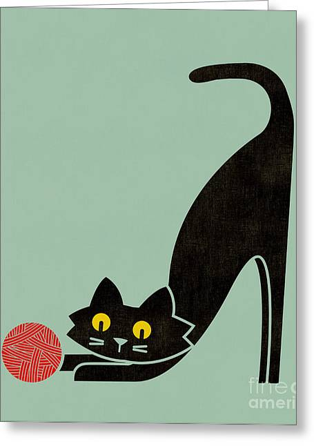 Cute Digital Art Greeting Cards - Fitz the curious cat Greeting Card by Budi Kwan