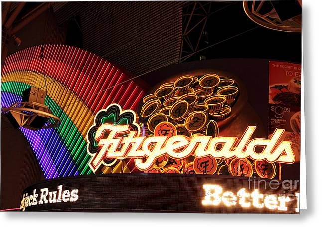 Freemont Street Greeting Cards - Fitzgeralds Greeting Card by John Rizzuto