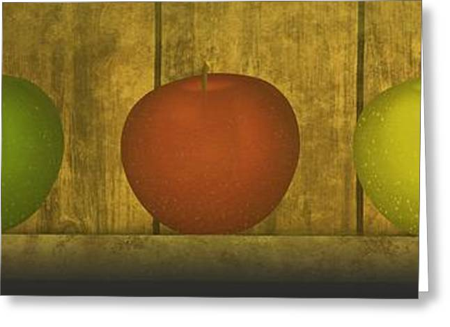 Lake House Mixed Media Greeting Cards - Five Apples  Greeting Card by David Dehner