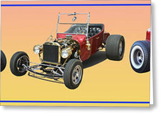 Hot Rod Photography Greeting Cards - Five Bad Big Boys Rides Greeting Card by Jack Pumphrey