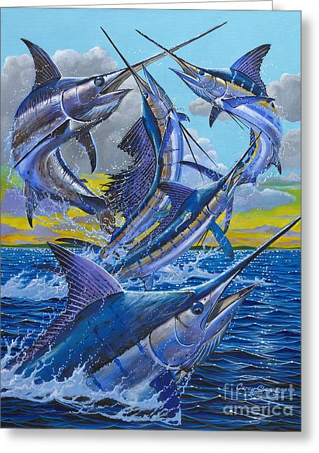 Striped Marlin Greeting Cards - Five Billfish Off00136 Greeting Card by Carey Chen
