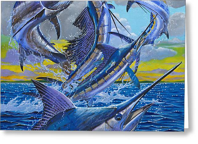 Five Billfish Off00136 Greeting Card by Carey Chen