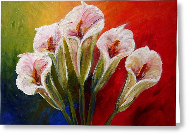 Mj Paintings Greeting Cards - Five Cala Lillies print Greeting Card by Mary Jo  Zorad