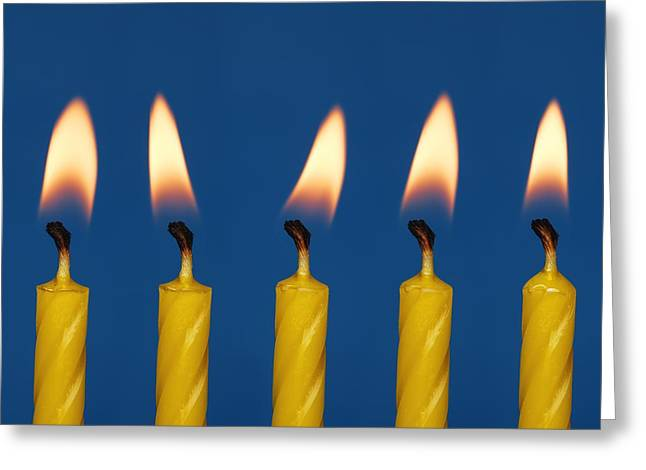 Special Occasion Greeting Cards - Five Candles Burning Greeting Card by Darren Greenwood