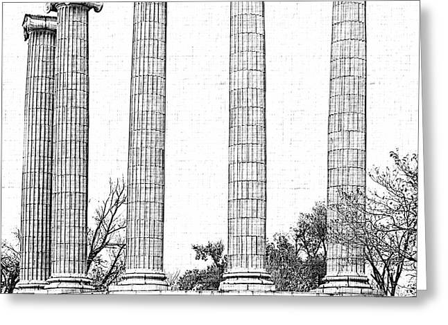 Five Columns Sketchy Greeting Card by Debbie Portwood