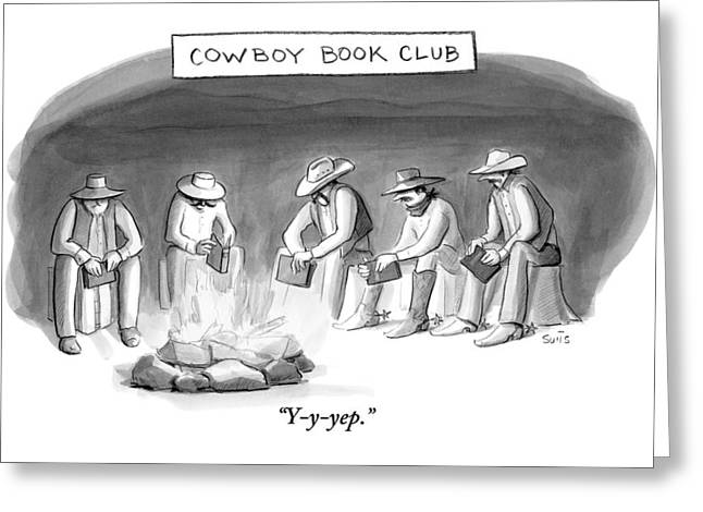 Five Cowboys Sit Around A Campfire. Each Cowboy Greeting Card by Julia Suits