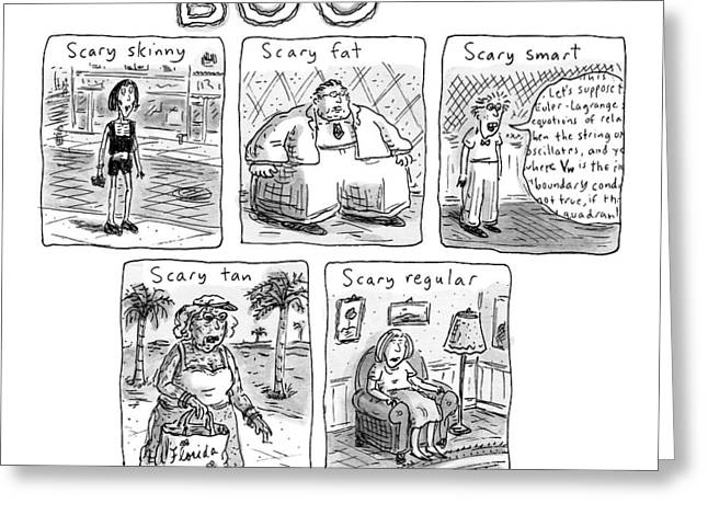 Five Different Pictures Are Shown Below The Title Greeting Card by Roz Chast