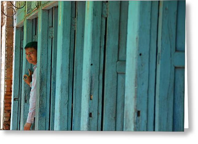 Nepal Greeting Cards - Five Doors Down Greeting Card by Aaron S Bedell