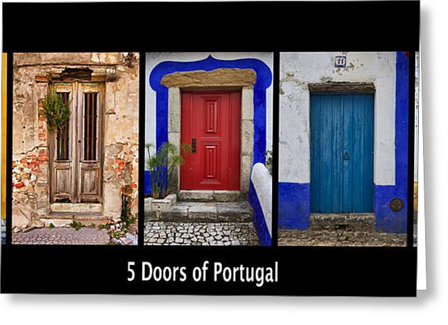 The Doors Poster Greeting Cards - Five Doors of Portugal Greeting Card by David Letts