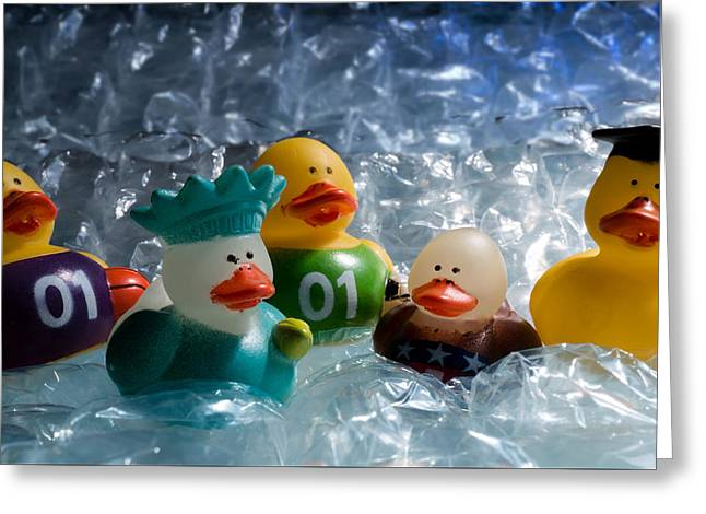 Five Ducks In A Row Greeting Card by Donna Lee