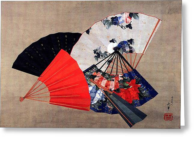 Illustrator Paintings Greeting Cards - Five Fans Greeting Card by Katsushika Hokusai