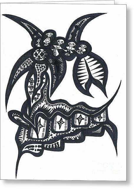 Atlantis Drawings Greeting Cards - Five For Four from Soul Beings From heaven black on white Greeting Card by Robert Prins