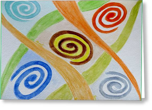 Human Spirit Paintings Greeting Cards - Five Forces Greeting Card by Sonali Gangane
