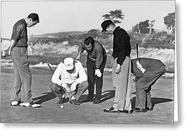 Five Golfers Looking At A Ball Greeting Card by Underwood Archives
