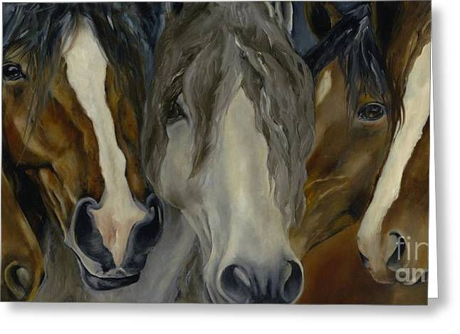 Horse Herd Greeting Cards - Five Guys Greeting Card by Catherine Davis