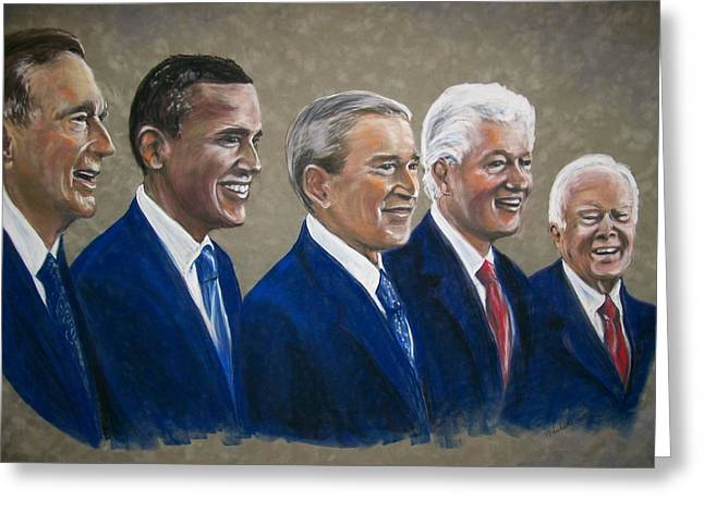 Barrack Pastels Greeting Cards - Five living presidents 2009 Greeting Card by Martha Suhocke