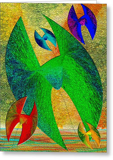 Kite Greeting Cards - Five Lucky Kites Greeting Card by Michele  Avanti