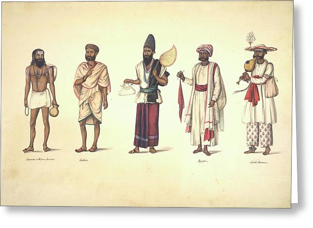 Five Male Types Standing In A Line Greeting Card by British Library