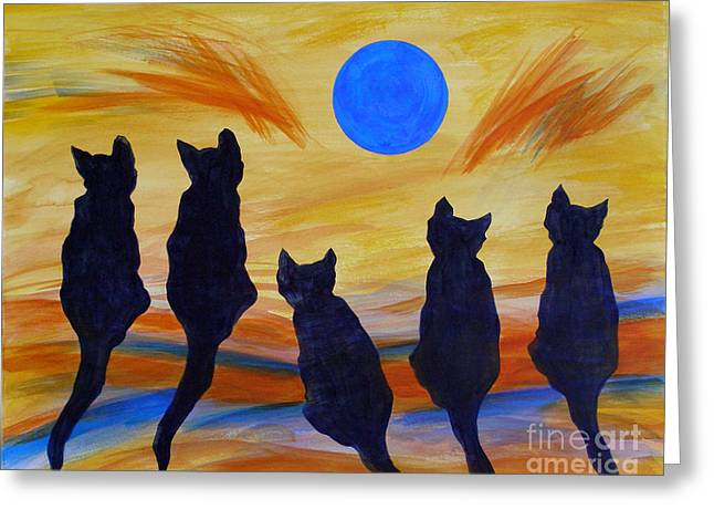 Illustations Greeting Cards - Five Meows See the Wild Blue Greeting Card by Susan Greenwood Lindsay