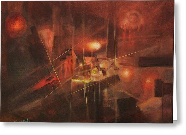 Abstract Expressionist Greeting Cards - Five Miles Deep Greeting Card by Tom Shropshire