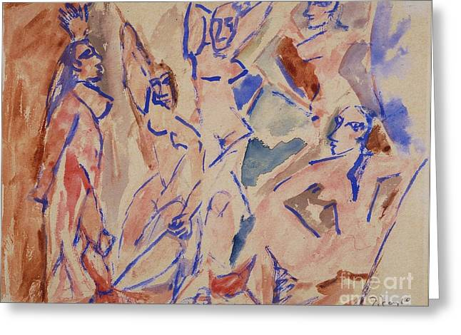 Demoiselles Greeting Cards - Five Nudes Study Greeting Card by Pg Reproductions