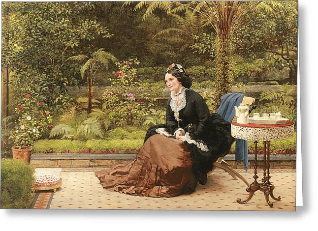 1874 Greeting Cards - Five Oclock Greeting Card by George Dunlop Leslie